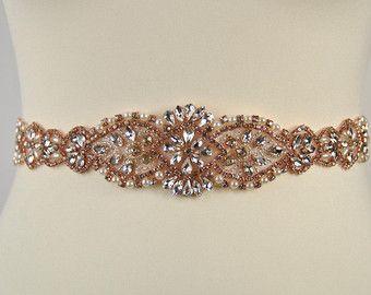 Rose Gold Crystal Bridal Sash,Wedding Dress Sash Belt, Rose Golf Rhinestone Sash Bridal Bridesmaid Sash Belt, Rose Gold Wedding dress sash