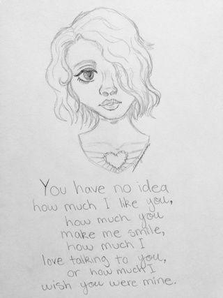 I 'gift' thee world with a sketch I did in my new art book. Comment what you think. 😅 #art #sketch #quote #grayscale #girl #heart #deep #words #draw #pencil #hair #eyes #stuff #idontknow #otherpw