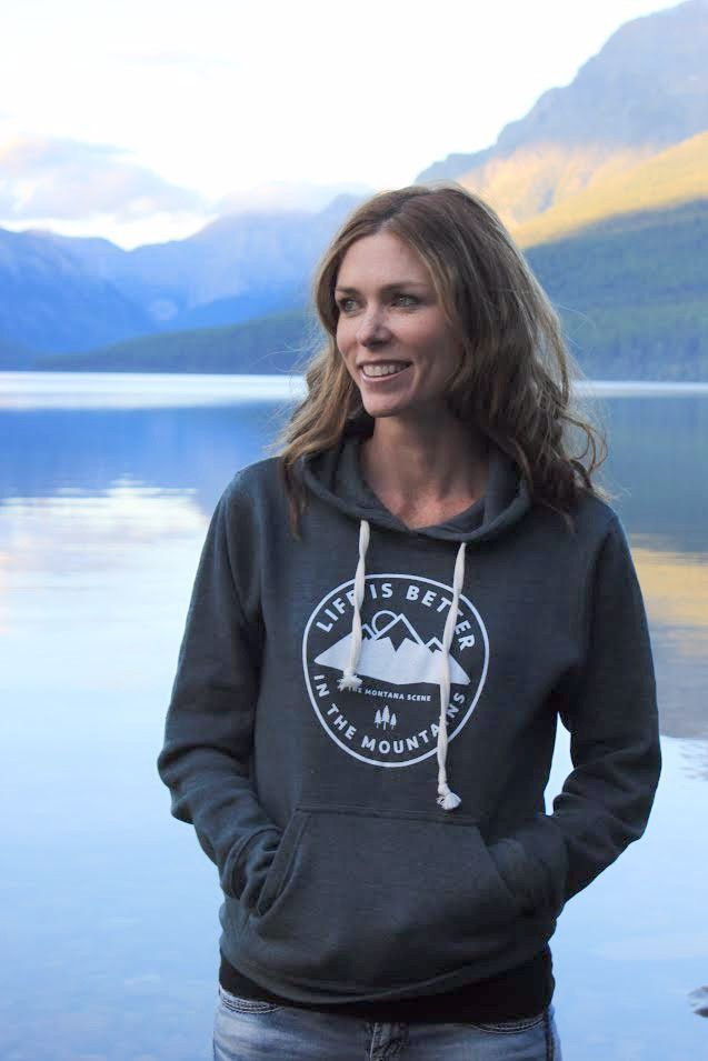 Super soft triblend hoodie. Life is better in the mountains. You will love this Montana hoodie. No need to size up. Color: Heathered Navy