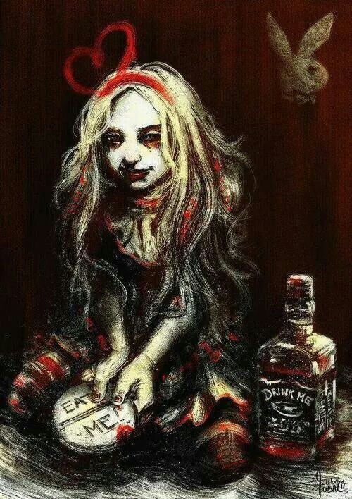 This image is a modern representation of the effects drugs and alcohol can have a person. Alice is known for her consumption of numerous things that she does know what they are. This is such a strong image because it shows how a destructive drugs can be.