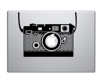 "Vintage Camera Vinyl Decal / Sticker to fit Macbook Pro 13"" 15"" 17"" - Custom sizes available - love - precision die cut romantic digital"