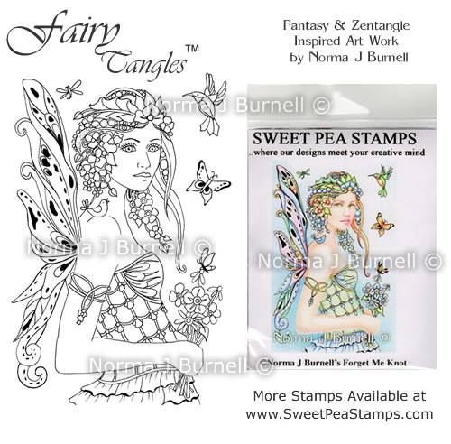 Fairy-Tangles Rubber stamp for Crafting and Card Making