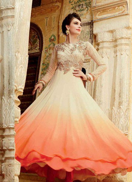 Cream and orange shaded salwar suit
