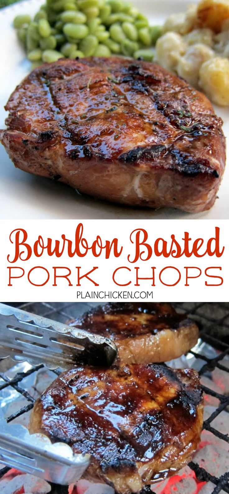 Bourbon Basted Pork Chops - pork chops basted in a quick homemade bourbon sauce - lemon juice, soy sauce, Worcestershire sauce, bourbon, onion, hot sauce and pepper. So easy and really good. A favorite at our BBQ parties!