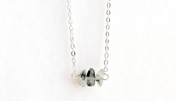 Rutilated Necklace Cluster Crystal Pendant Silver by IndigoLizard