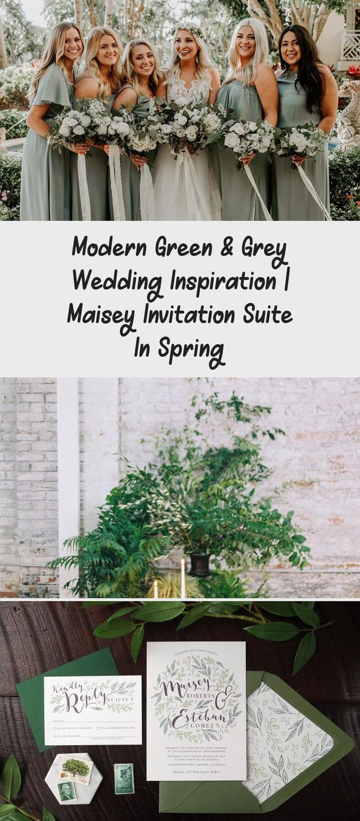 Botanical illustration Green & Grey Wedding inspiration perfect for a modern garden wedding or an urban wedding dripping with greenery. Palette of greens - emerald and sage. Earthy and organic with clean, modern touches. Bridesmaid dresses #BridesmaidDressesWithSleeves #YellowBridesmaidDresses #WeddingBridesmaidDresses #BridesmaidDressesSpring #BridesmaidDressesMauve