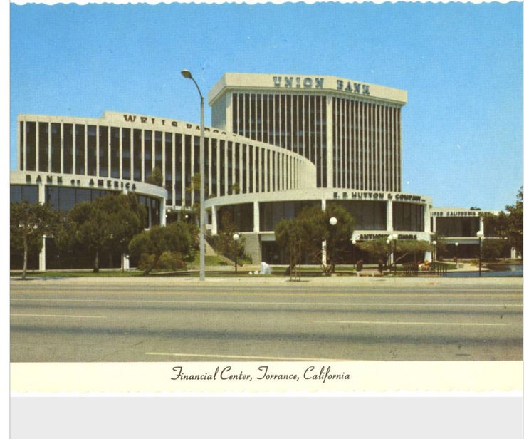 Financial center - Torrance, California: The hub of the Bay Cities Financial District. Companies pictured: Bank of America, E. F. Hutton & Company, Union Bank, Wells Fargo 1978-1981 — in Torrance, California.