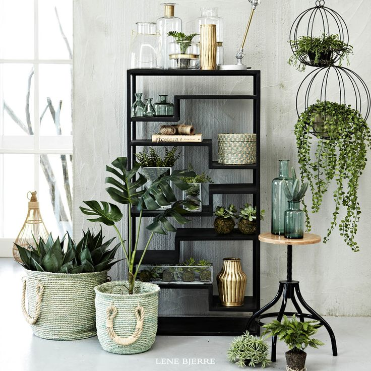 Lene Bjerre Iron And Mango Wood Furniture Handmade Artificial Flowers Interior PlantsArtificial