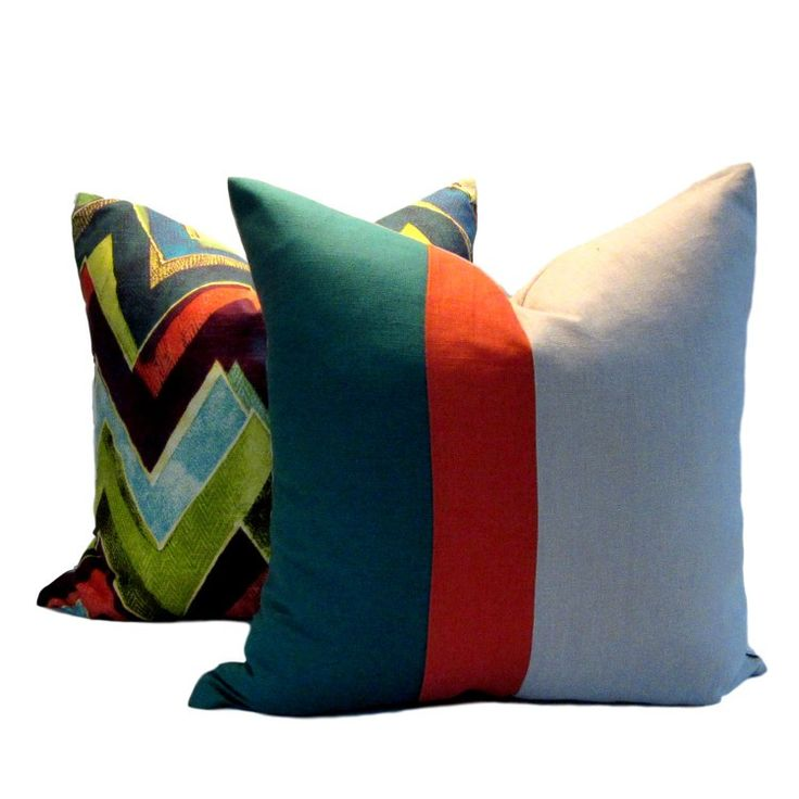 Instantly update your decor with our contemporary linen Teal Orange Natural Colour Block Pillow Cover