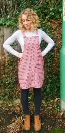 Emily's Cleo dungaree dress - sewing pattern by Tilly and the Buttons