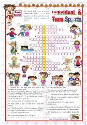 English Worksheet Sports Set 4 Individual And Team