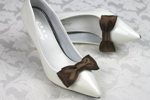Brown Shoe Bows, Brown Bow Shoe Clips, Brown Wedding Accessories Shoes Clip, Brown Bow Clip Shoes