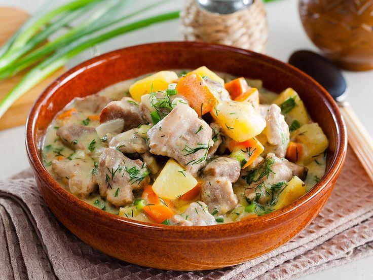 Рецепт: Свинина, тушенная с овощами в мультиварке