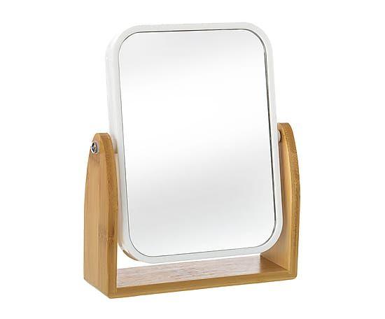Make-up spiegel van bamboe Lisa, naturel/wit, L 16,3 cm