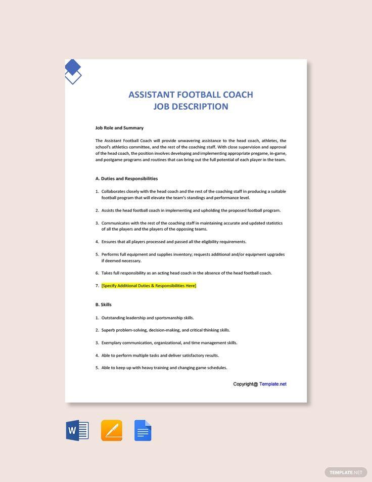 Free assistant football coach job description template in
