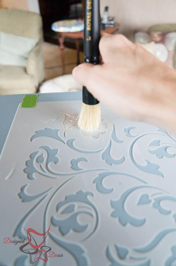 Dab method stenciling via Designed Decor | Scroll Allover Stencil | Royal Design Studio