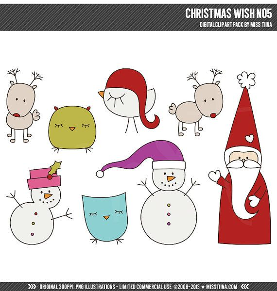 Christmas Wish No5 Digital Clipart Clip Art Illustrations - instant download - limited commercial use ok