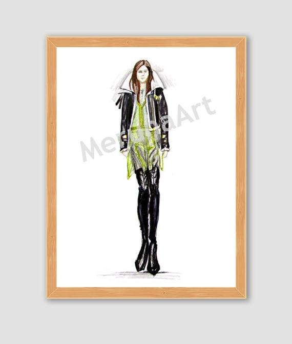 Catwalk 7 Fashion Sketch Download Printable Art by MerunaArt #fashion #sketch #drawing #catwalk #burberry #dress #coat #spring #leather