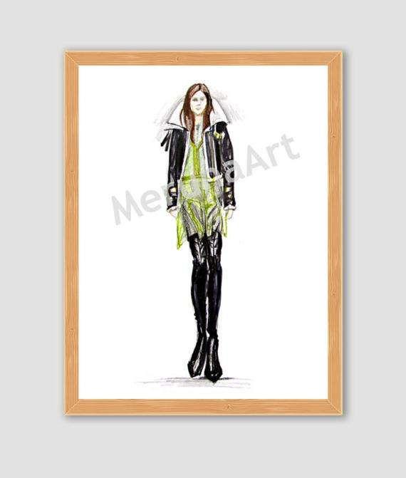 Catwalk 7 Fashion Sketch Download Printable Art by MerunaArt #fashion #sketch #drawing #catwalk #burberry #dress #coat #spring #leather