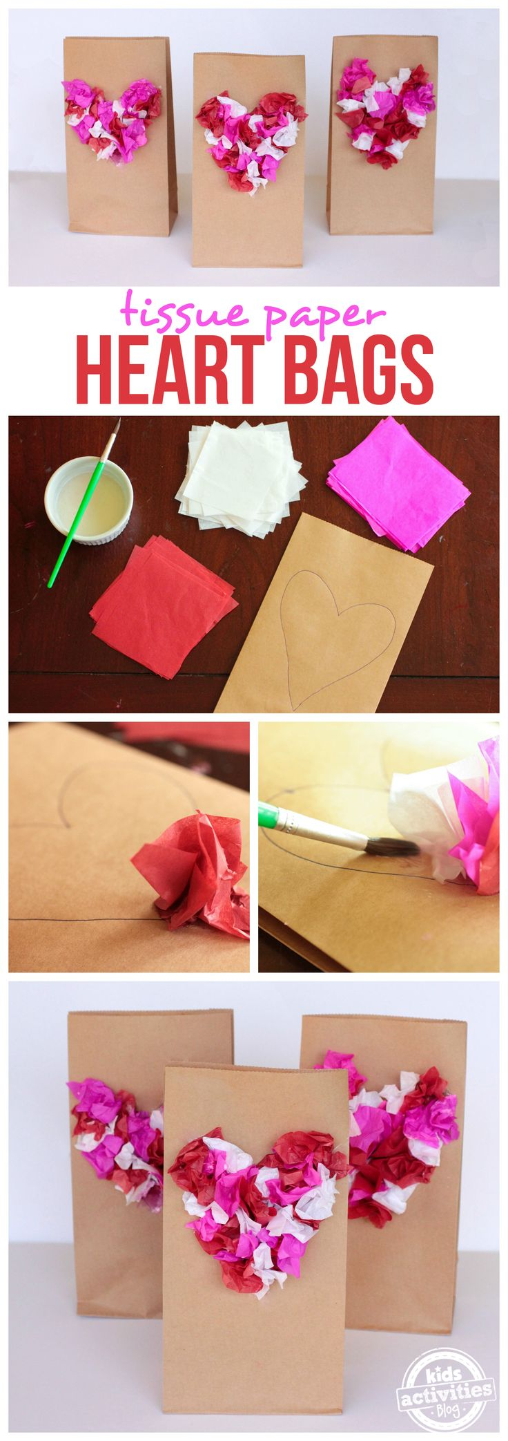 Tissue Paper Heart Bags are a simple, fun craft that is perfect for parties! It doesn't have to be Valentine's Day to enjoy a beautiful heart design. And with homemade decoupage using @imperialsugar, we bet you have everything you need already!