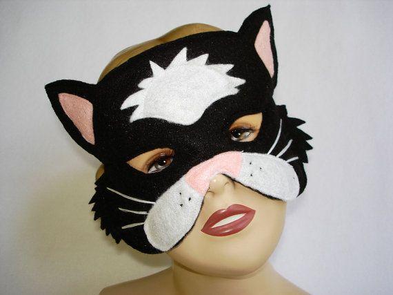 Children's BLACK CAT Felt Mask by magicalattic on Etsy, $12.50