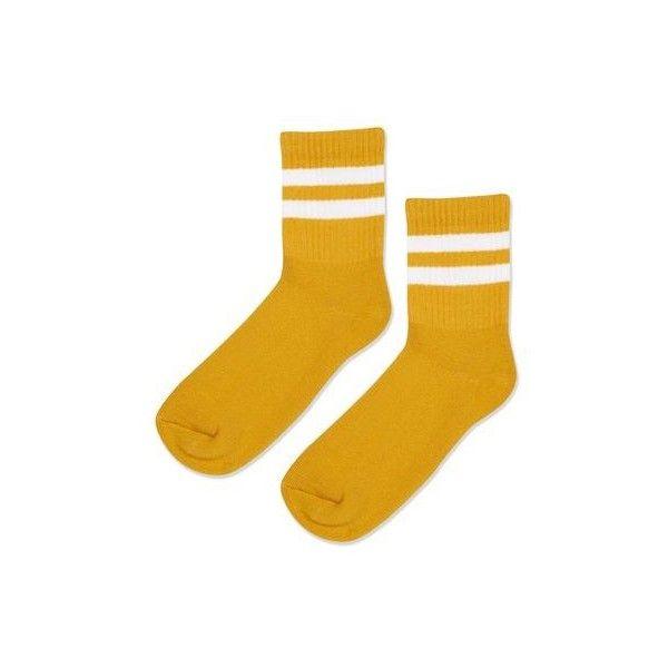 Topshop Sporty Tube Ankle Socks (£3.50) ❤ liked on Polyvore featuring intimates, hosiery, socks, mustard, short socks, tube socks, stripe tube socks, sports socks and tennis socks