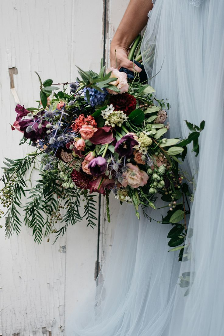 Textured jewel toned boho wedding bouquet | Peppermint Photography | See more: http://theweddingplaybook.com/whimsical-wedding-inspiration-in-shades-of-blue/