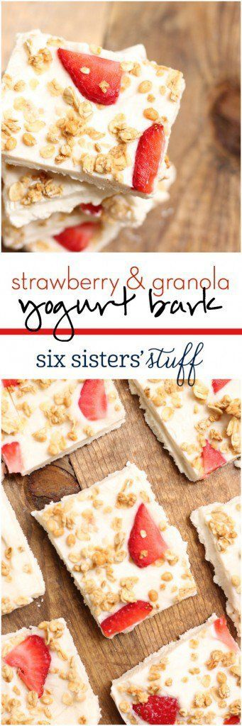 4 Ingredient Strawberry & Granola Yogurt Bark. Makes a great healthy snack!