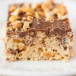 Rice Krispy Treat Recipe | Snickers Rice Krispies Treats | Brown Eyed Baker