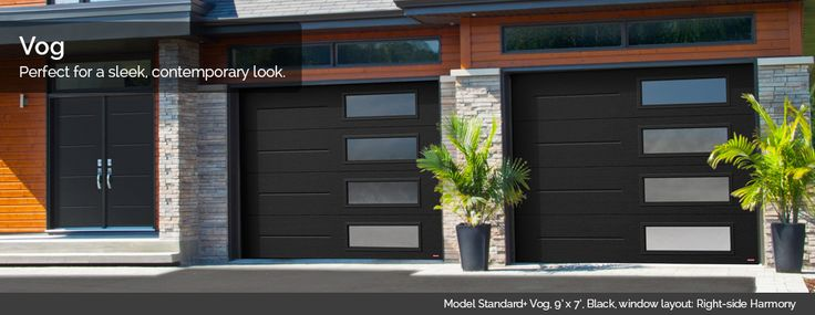 New Garaga garage door design, the Vog, for a contemporary look, it also matches with Novatech's Vog entry doors