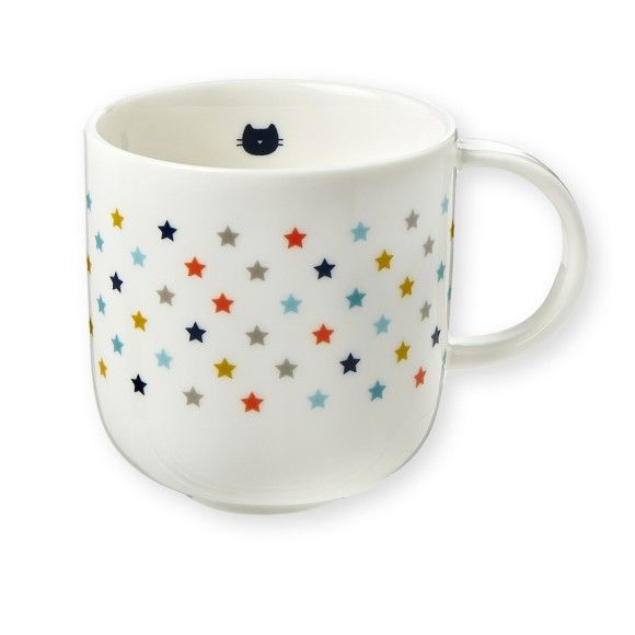 Porcelain Star Mug by Bandjo. This pretty colourful, porcelain mug is a lovely indulgent product, and beautiful to handle. A cheeky black cat face peeks out at you from the inside and pretty coloured stars dance around the outside of the mug. A lovely gift for a young child, perfect for bedtime milk! Comes in an attractive gift box. £9.99