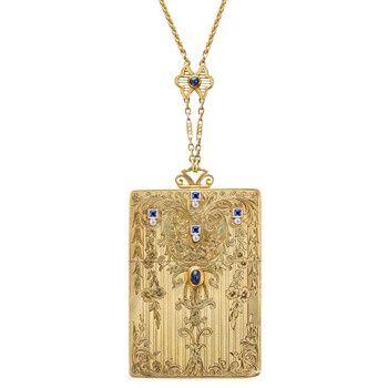 Betteridge Collection Edwardian 14k Gold Card Case Pendant Necklace | Betteridge
