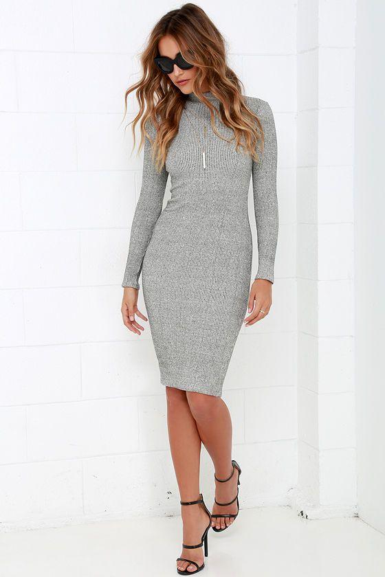 I Mist You Heather Grey Midi Sweater Dress at Lulus.com!