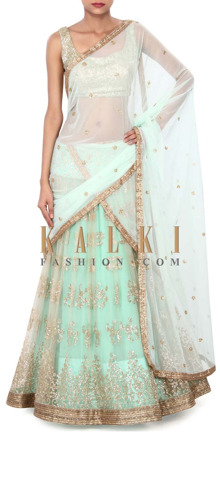 Buy Online from the link below. We ship worldwide (Free Shipping over US$100) Price- $739 Click Anywhere to Tag http://www.kalkifashion.com/peach-and-turq-lehenga-adorn-in-shimmer-only-on-kalki.html