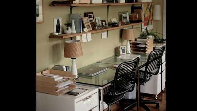 Office spaceFloating Shelves, Open Shelves, Offices Spaces, Crafts Room, Work Spaces, Workspaces, Offices Ideas, Wall Shelves, Home Offices