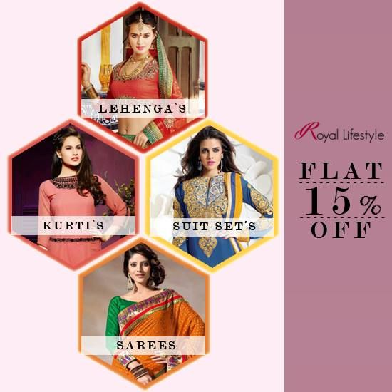 Don't Waste your DAY!! Shop All Women Ethnic Wear @ FLAT 15% OFF... #WomenEthnicWear #Collection #Flat15Off