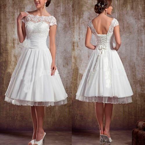 New Short Sleeve Tea Length Lace Wedding Dress Size 4 6 8 10 12 14 16 Custom | eBay  $75  Great short wedding dress or reception dress!!