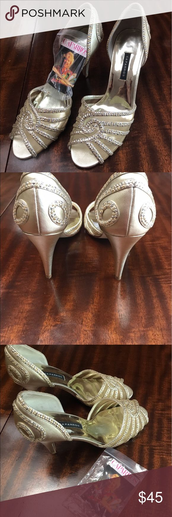 Caparros gold open toe pumps Beautiful gold sequined heels in excellent condition. Caparros Shoes Heels