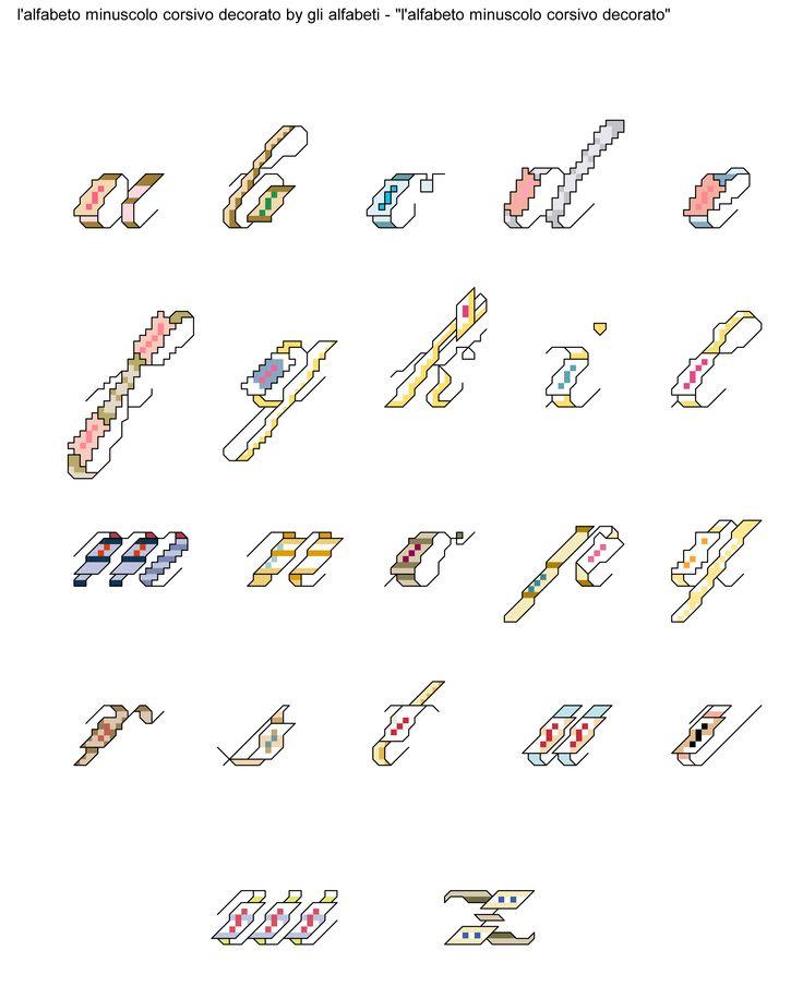 alfabeto minuscolo corsivo decorato