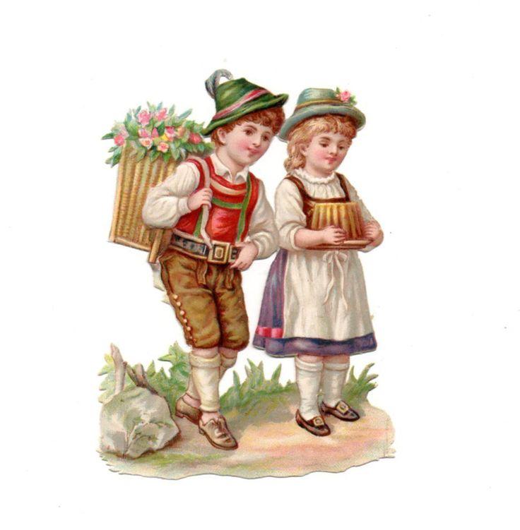 Alte Oblate Glanzbilder Scraps Kinder mit Kuchen 9,5cm ...