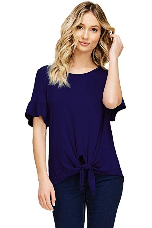 176c1b56b Annabelle Women's Casual Short Sleeve Knot Tie Front Loose Fit Top Tee T-Shirt  Blouses