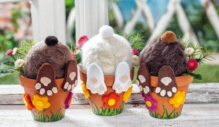 Versteckte Osterhasen aus befilzten Styropor-Eiern - Kostenlose Anleitung. ✓ Einfach nachzumachen ✓ Material online bestellen ✓