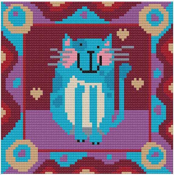 blue Cat от DureneJones на Etsy
