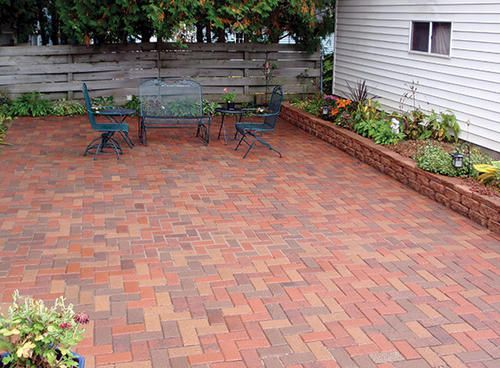4 X 8 Holland Paver At Menards Raised Bed Plants And Landscaping In 2019 Concrete Patio Walkway