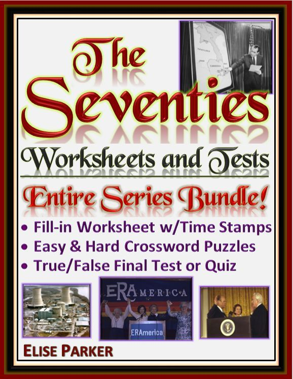The Seventies Worksheet Pack for the entire CNN series -- all 8 episodes! Covering everything from social movements and Watergate to music, TV, and the Vietnam War, this series has it all! Great way to get out of the textbook and immerse your students in primary visual sources! For each episode you'll get a viewing worksheet, two puzzles, and a final test! Hundreds of pages of activities!