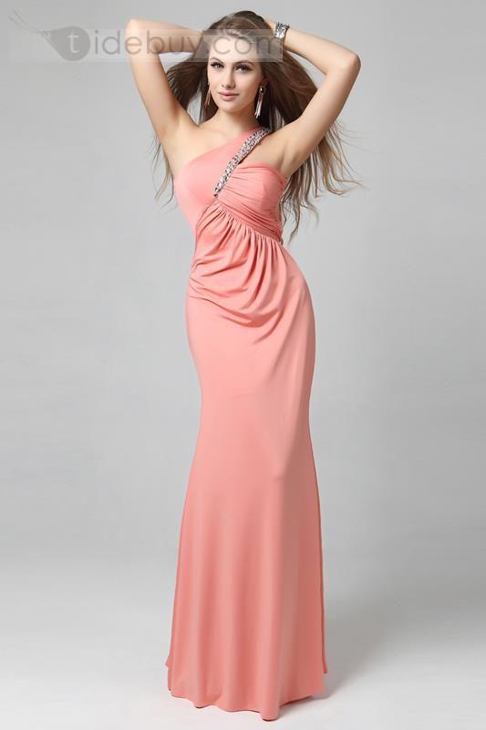 ワンショルダー床まで届く長さイブニングドレス