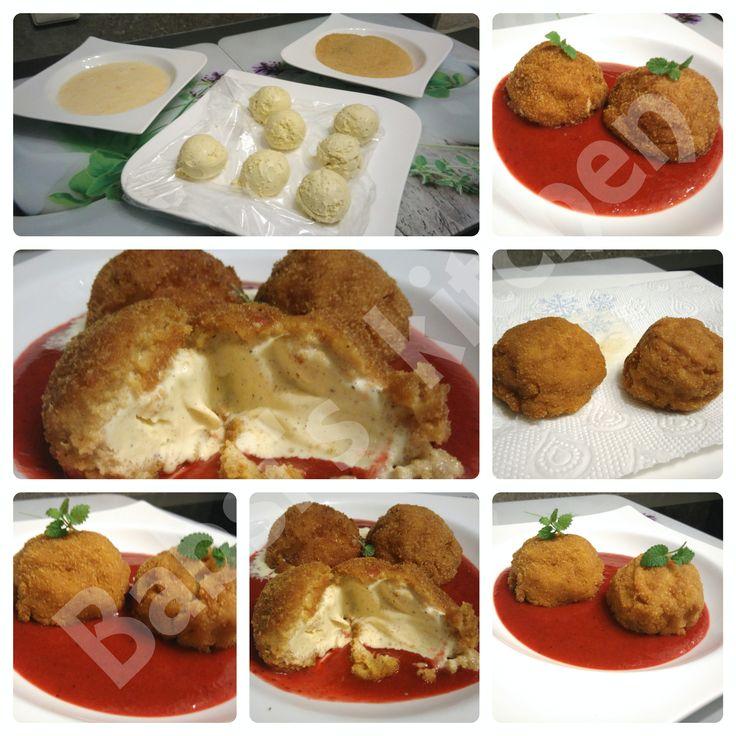 FRITTIERTES EIS MIT ERDBEERSAUCE Rezept: http://babsiskitchen-foodblog.blogspot.de/2016/05/frittiertes-eis-mit-erdbeersauce.html