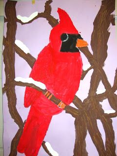 Winter Cardinals. Blog includes lesson plan!  Draw cardinal first, then branches to add depth. Discuss foreground, background. Paint cardinal and tree branches with tempera paint. easy 2 day lesson