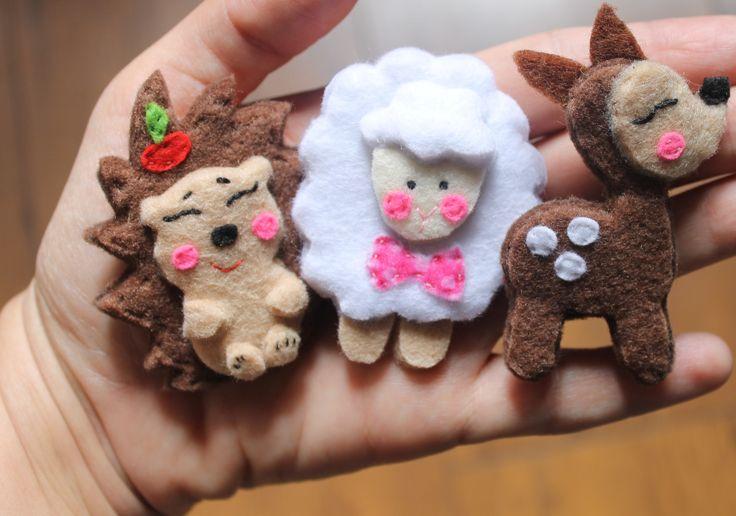 jeż, sarenka, owca, filc, wykonanie Kaliniaki, https://www.facebook.com/kaliniaki/