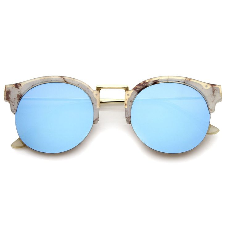 Cool and effortless, these stunning sunglasses are exquisitely designed with a round color mirror lenses for that attention-grabbing element. A semi-rimless frame with printed details, a metal nose br